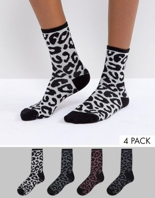 Vero Moda Leopard Print Glitter 4 Pack Socks