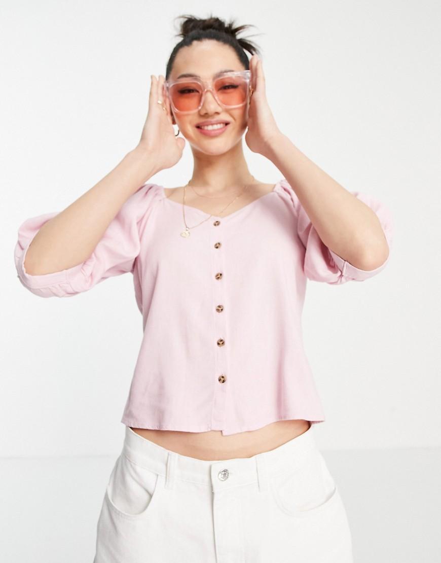 Vero Moda - Lyserød top med pufærmer og gennemgående knapper