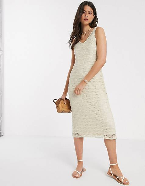 Vero Moda midi dress with v neck in cream crochet
