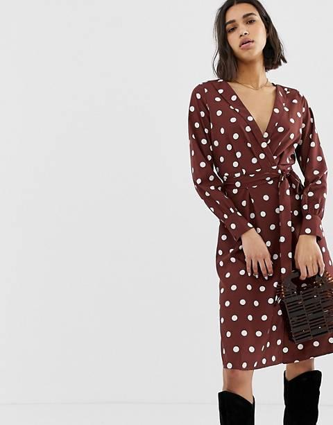 Vero Moda - Midi-jurk met diepe V-hals, stippen en gestrikte taille