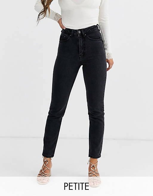 Vero Moda Petite – Ankellånga mom jeans med hög midja