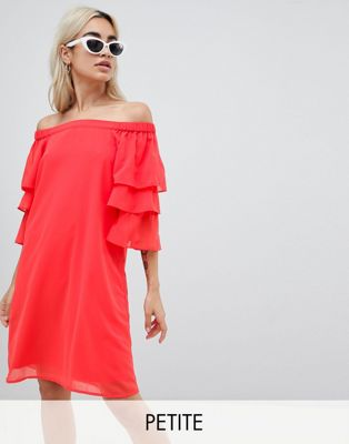 Vero Moda Petite Off Shoulder Dress With Tiered Sleeve