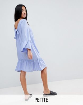 Vero Moda Petite Ruffle Dress With Tie Back