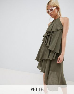 Vero Moda Petite Ruffle Halter Neck Dress