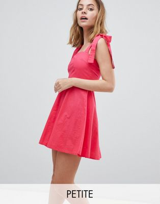 Vero Moda Petite Skater Dress With Tie Sleeves