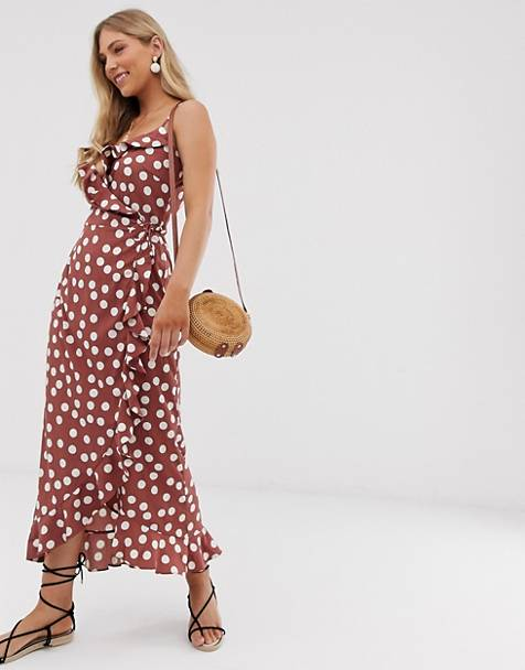 dcbcd385c0 Vero Moda polka dot wrap maxi dress with ruffle hem
