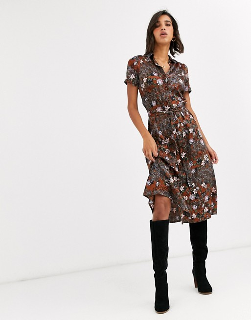 Vero Moda short sleeve shirt midi dress in mixed floral print