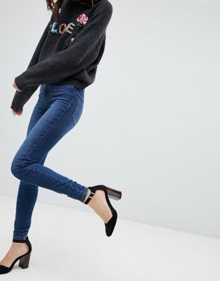 Afbeelding 1 van Vero Moda - Skinny jeans met hoge taille in blauw
