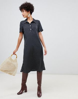 Vero Moda spot midi shirt dress