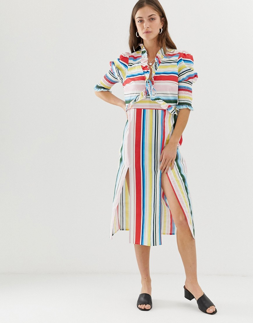 Vero Moda Stripe Midi Dress With Side Splits by Vero Moda