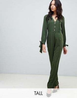 Image 1 of Vero Moda Tall 3/4 Tie Sleeve Jumpsuit