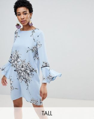 Vero Moda Tall Floral Frill Sleeve Shift Dress