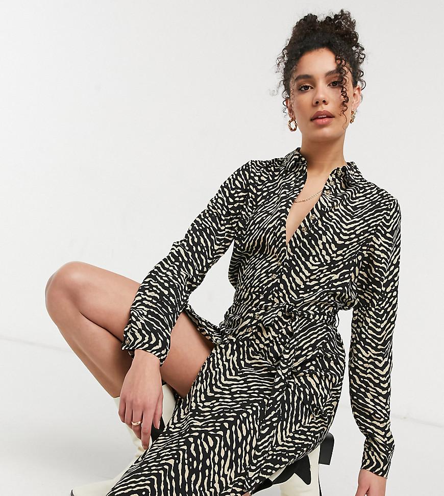 vero moda tall -  – Midi-Hemdkleid mit Animal Print-Mehrfarbig