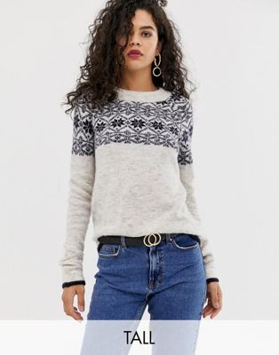 Vero Moda Tall Patterned Round Neck Jumper