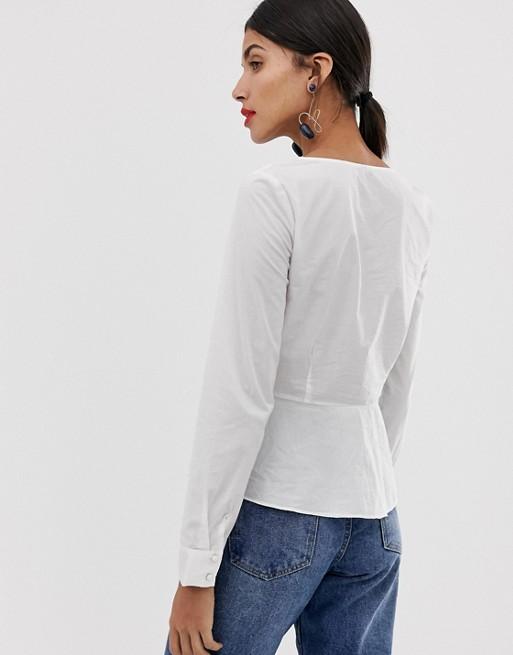 Asos Peplum Vero Moda Met Overhemd Vierkante Tall Halslijn fgb76y