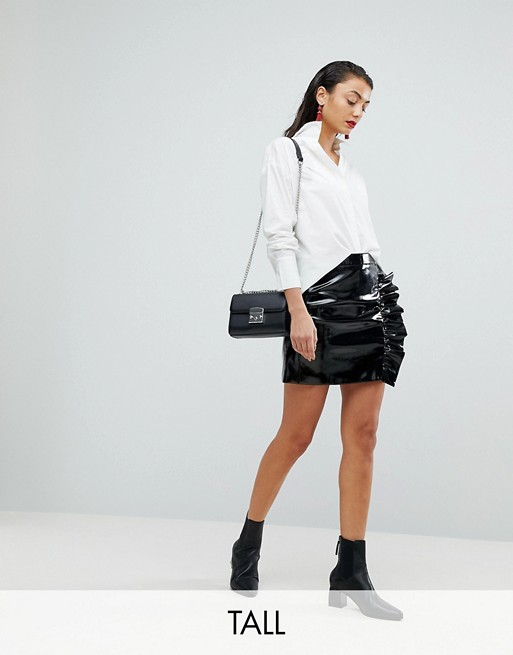 Vero Moda Tall Vinyl Skirt With Frill Detail