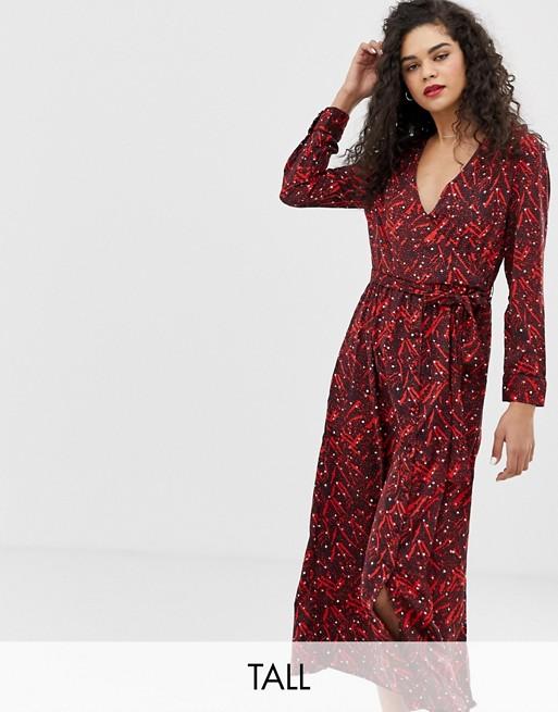 Image 1 of Vero Moda Tall wrap midi dress