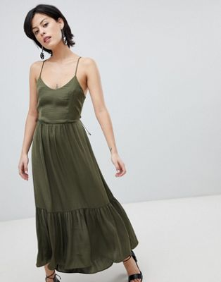 - Vero Moda Tiered Satin Maxi Dress