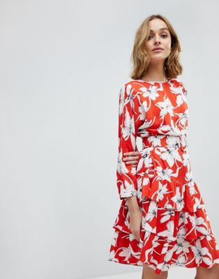 Vero Moda Vintage Floral Tea Dress With Ruffle Hem