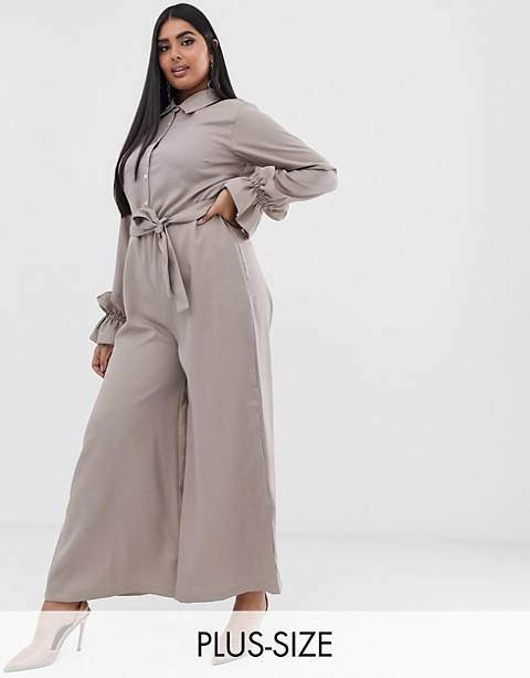 Verona Curve long sleeved jumpsuit in stone
