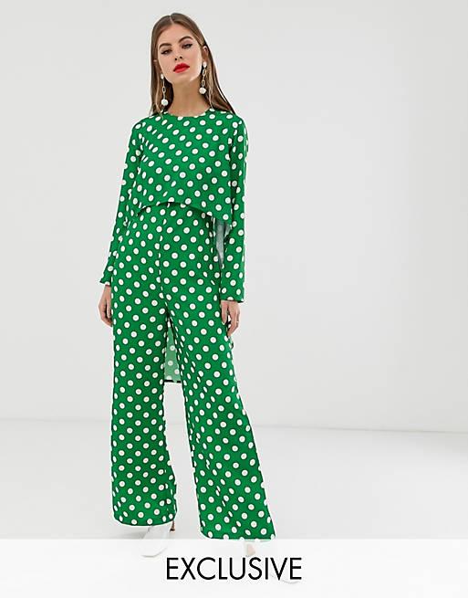 Verona long sleeved layered jumpsuit in green polka dot