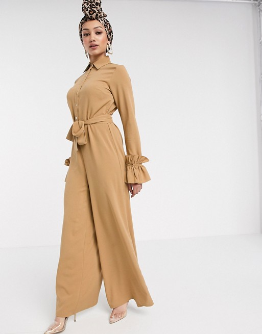 Verona wide leg jumpsuit with ruffle sleeve