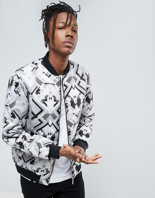 6cd926242 Versace Jeans Bomber Jacket In Repeat Print