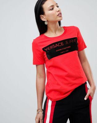 Versace Jeans – T-shirt med velouriserad logga