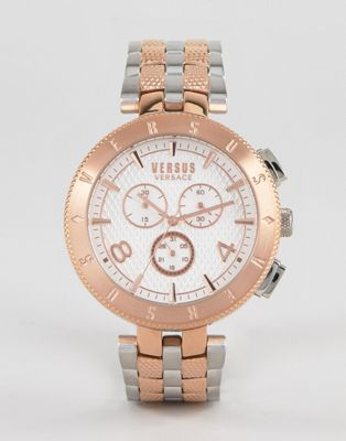 Versus Versace S7617 Logo Bracelet Watch In Mixed Metal