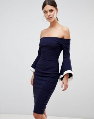 Vesper Flute Sleeve Bardot Dress