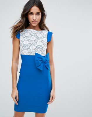 Vesper Mini Dress With Lace Panel And Bow Detail