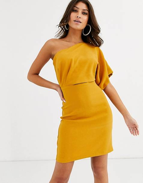 Vesper one shoulder mini dress with cut out and tie detail in ochre