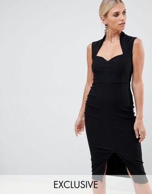 Vesper Pencil Dress With Sweetheart Neckline And Split