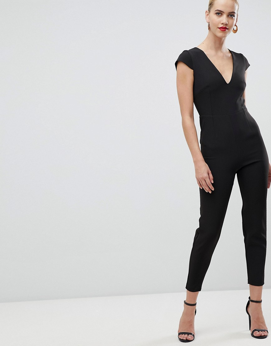 Vesper plunge front fitted jumpsuit in black – Vesper jumpsuits