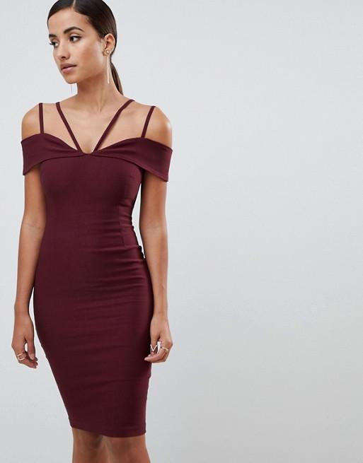 Image 1 of Vesper strappy detail midi dress in oxblood