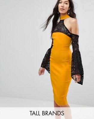 Vesper Tall Cold Shoulder Lace Bell Sleeve Dress
