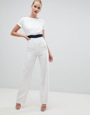 Vesper – Weißer Jumpsuit mit weitem Bein und kontrastierendem Bund