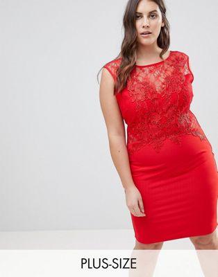 Vestido ajustado con aplique de encaje de Lipsy Curve