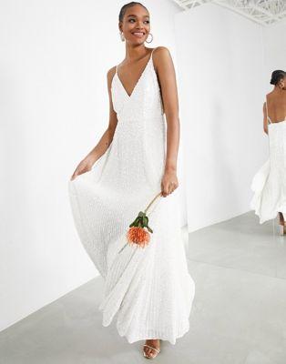 Vestido de boda de tirantes co lentejuelas de ASOS EDITION