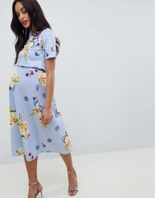 Vestido de graduación de lactancia de neopreno para ocasiones especiales con top corto y estampado floral de ASOS DESIGN Maternity