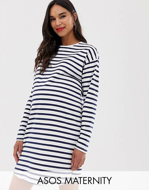 Vestido de punto de manga larga a rayas de ASOS DESIGN Maternity