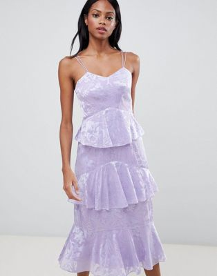 Imagen 1 de Vestido de satén a capas con diseño devoré de Whistles