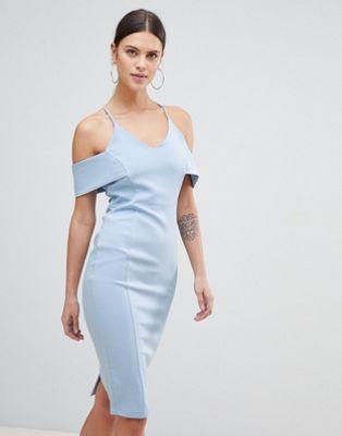 Vestido de tubo de tirantes con escote bardot de Vesper