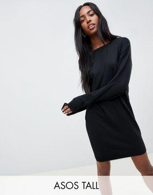 Vestido estilo jersey con espalda redonda en hilo ecológico de ASOS DESIGN Tall