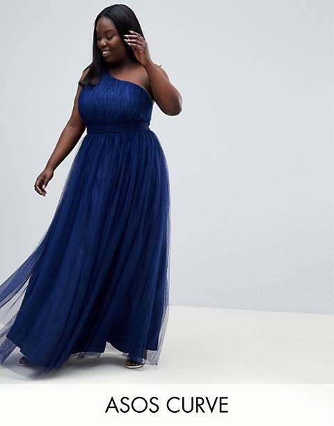 Vestido largo asimétrico de tul de ASOS Curve Premium