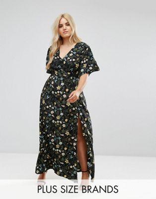 Vestido largo con abertura delantera y estampado floral de Missguided Plus