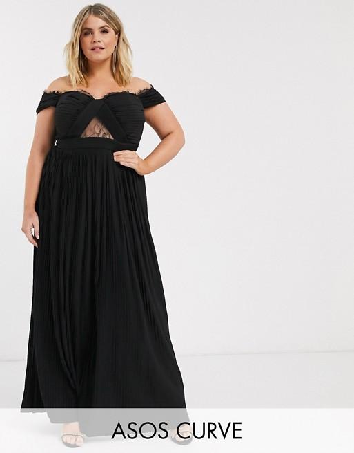 Vestido largo con escote Bardot pliegues y encaje de ASOS DESIGN Curve