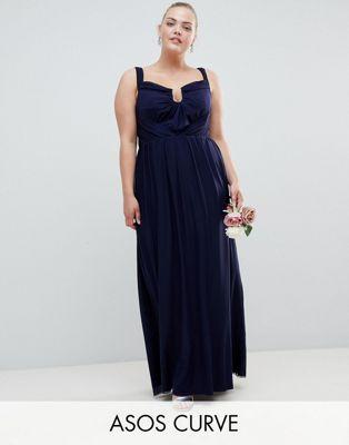Vestido largo con escote Bardot y diseño de malla fruncida de ASOS DESIGN Curve