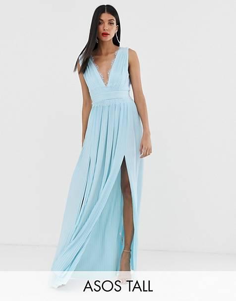 Vestido largo con pliegues y aplicación de encaje de ASOS DESIGN Tall PREMIUM
