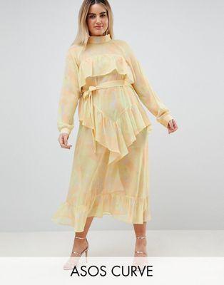 Vestido largo de chifón estampado de ASOS WHITE CURVE